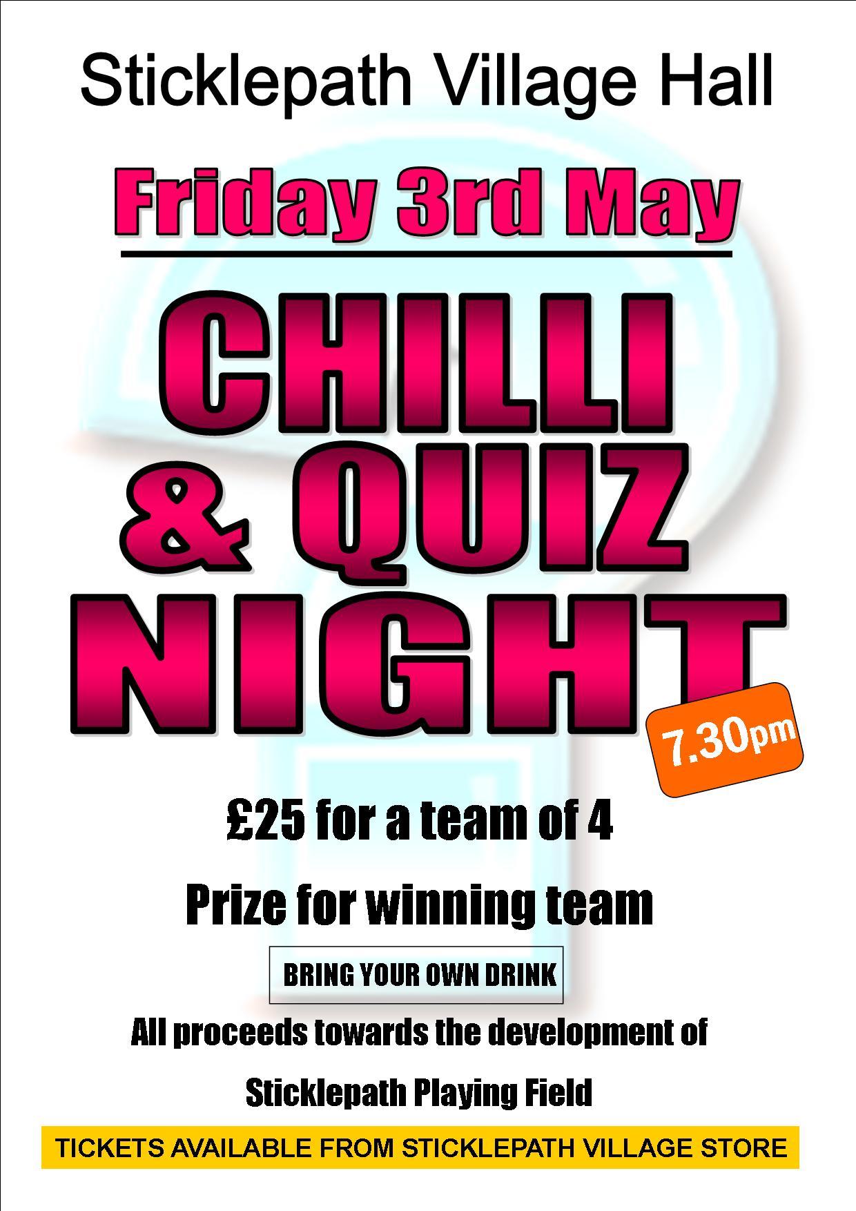 Chilli & Quiz night poster